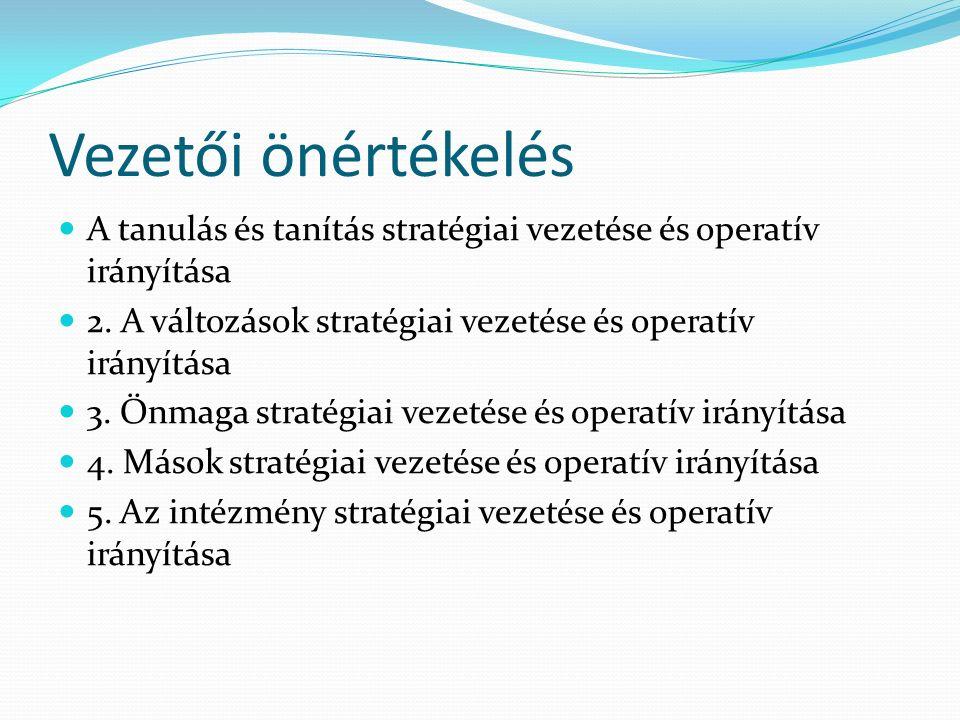 Vezetői önértékelés A tanulás és tanítás stratégiai vezetése és operatív irányítása 2. A változások stratégiai vezetése és operatív irányítása 3. Önma