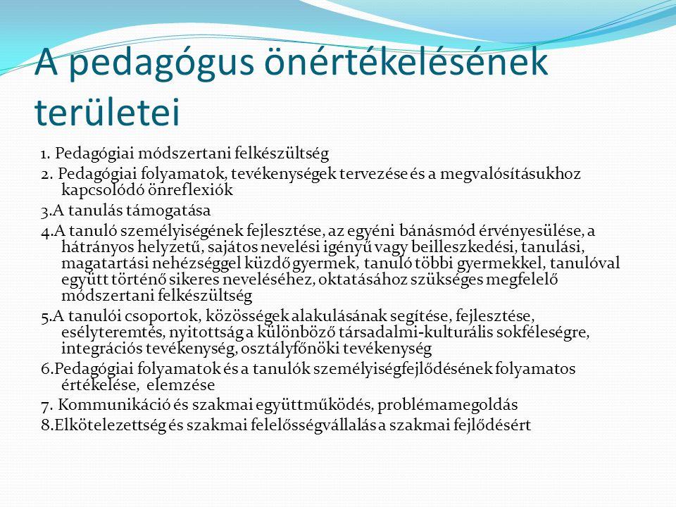 A pedagógus önértékelésének területei 1. Pedagógiai módszertani felkészültség 2. Pedagógiai folyamatok, tevékenységek tervezése és a megvalósításukhoz