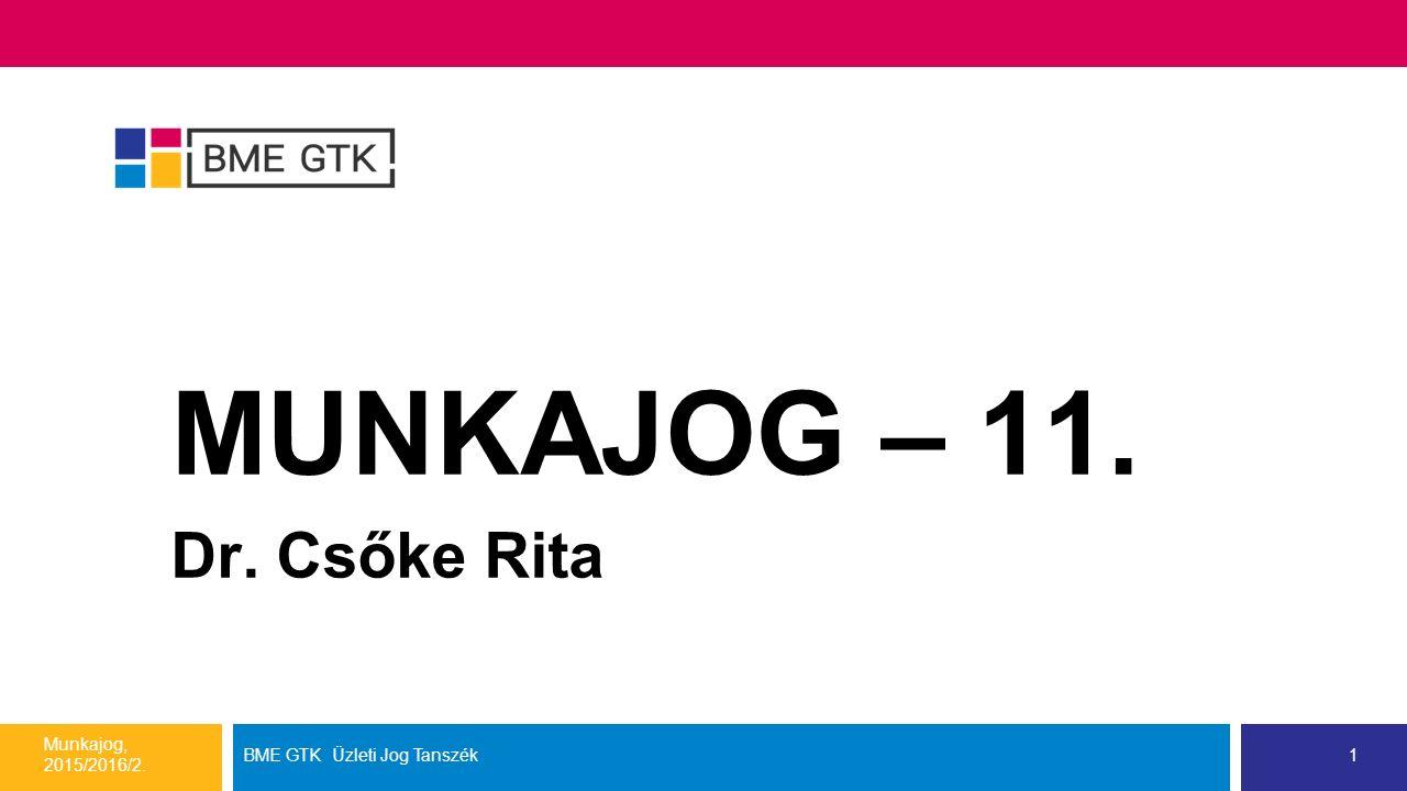 Mai témánk: a munkajogi felelősség Munkajog, 2015/2016/2. BME GTK Üzleti Jog Tanszék2