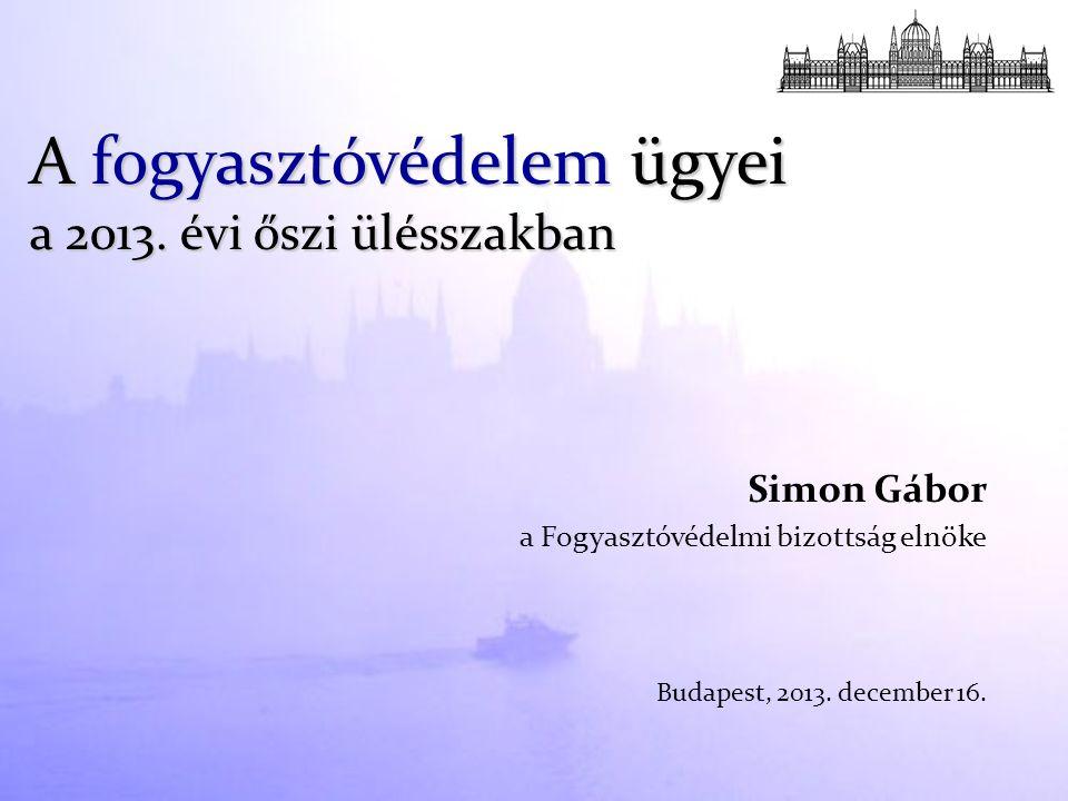 Simon Gábor a Fogyasztóvédelmi bizottság elnöke Budapest, 2013. december 16. A fogyasztóvédelem ügyei a 2013. évi őszi ülésszakban