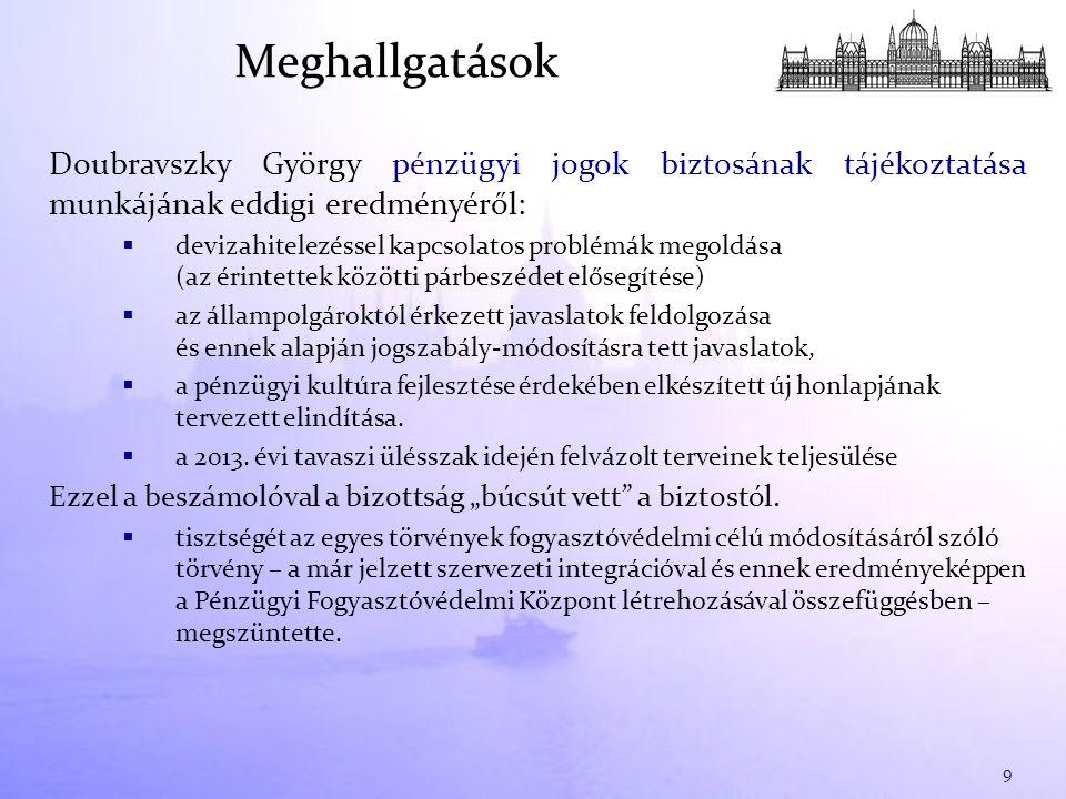 Doubravszky György pénzügyi jogok biztosának tájékoztatása munkájának eddigi eredményéről:  devizahitelezéssel kapcsolatos problémák megoldása (az érintettek közötti párbeszédet elősegítése)  az állampolgároktól érkezett javaslatok feldolgozása és ennek alapján jogszabály-módosításra tett javaslatok,  a pénzügyi kultúra fejlesztése érdekében elkészített új honlapjának tervezett elindítása.