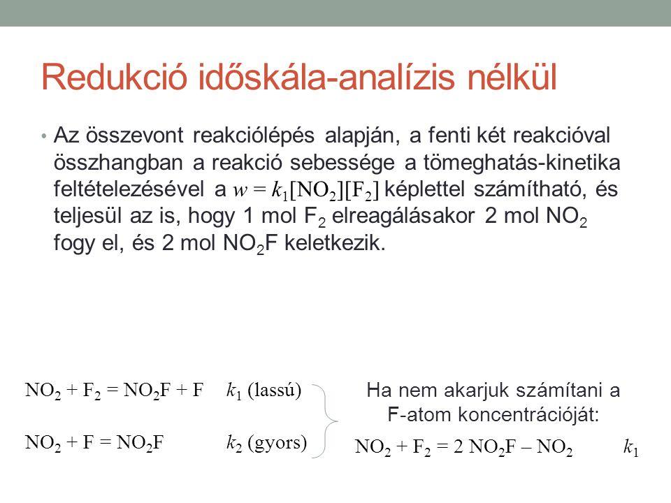 Az összevont reakciólépés alapján, a fenti két reakcióval összhangban a reakció sebessége a tömeghatás-kinetika feltételezésével a w = k 1 [NO 2 ][F 2 ] képlettel számítható, és teljesül az is, hogy 1 mol F 2 elreagálásakor 2 mol NO 2 fogy el, és 2 mol NO 2 F keletkezik.