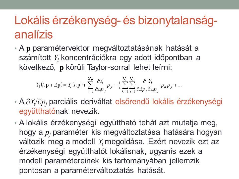 Lokális érzékenység- és bizonytalanság- analízis A p paramétervektor megváltoztatásának hatását a számított Y i koncentrációkra egy adott időpontban a következő, p körüli Taylor-sorral lehet leírni: A ∂Y i /∂p j parciális deriváltat elsőrendű lokális érzékenységi együtthatónak nevezik.