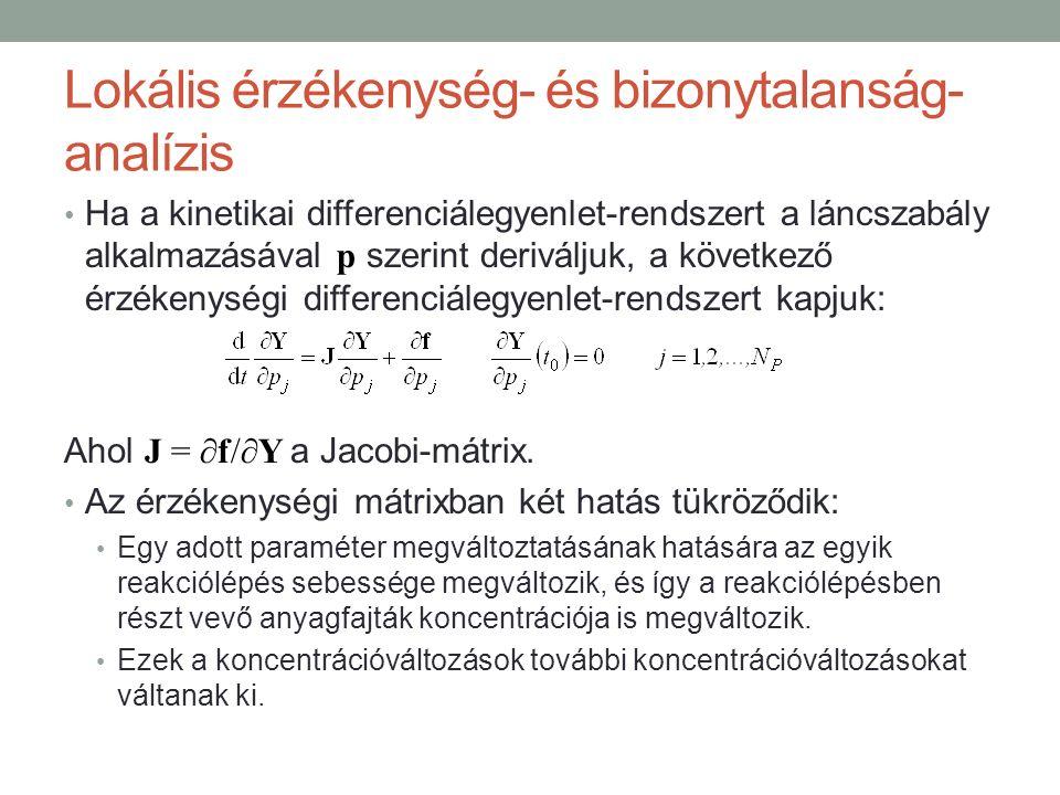 Lokális érzékenység- és bizonytalanság- analízis Ha a kinetikai differenciálegyenlet-rendszert a láncszabály alkalmazásával p szerint deriváljuk, a következő érzékenységi differenciálegyenlet-rendszert kapjuk: Ahol J = ∂f/∂Y a Jacobi-mátrix.