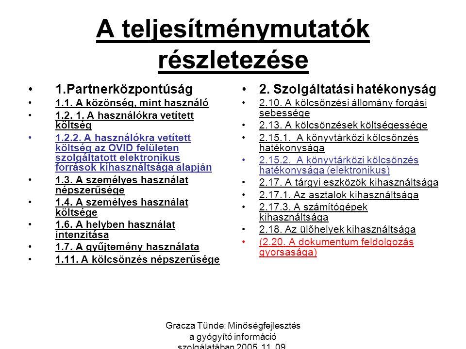 Gracza Tünde: Minőségfejlesztés a gyógyító információ szolgálatában 2005. 11. 09. A teljesítménymutatók részletezése 1.Partnerközpontúság 1.1. A közön