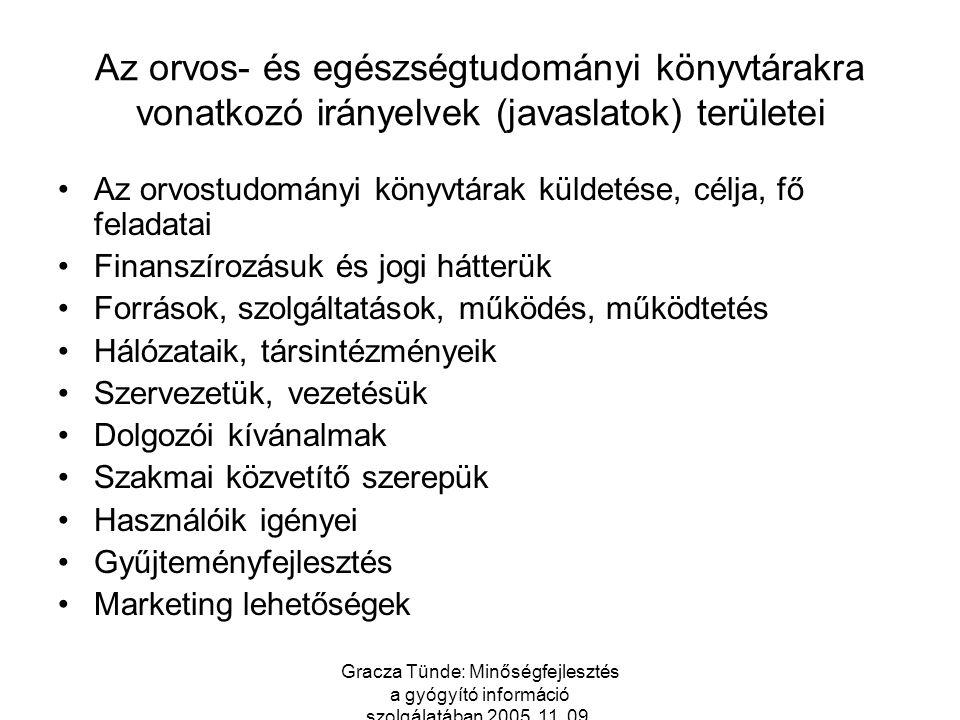 Gracza Tünde: Minőségfejlesztés a gyógyító információ szolgálatában 2005. 11. 09. Az orvos- és egészségtudományi könyvtárakra vonatkozó irányelvek (ja