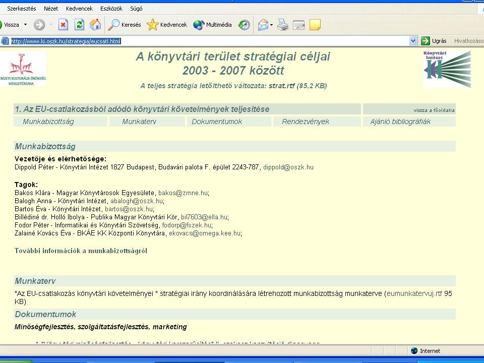 A könyvtári terület stratégiai céljai 2003 - 2007 között A teljes stratégia letölthető változata: strat.rtf (85,2 KB) (forrás: http://www.ki.oszk.hu/strategia/eucsatl.html)strat.rtf 1.