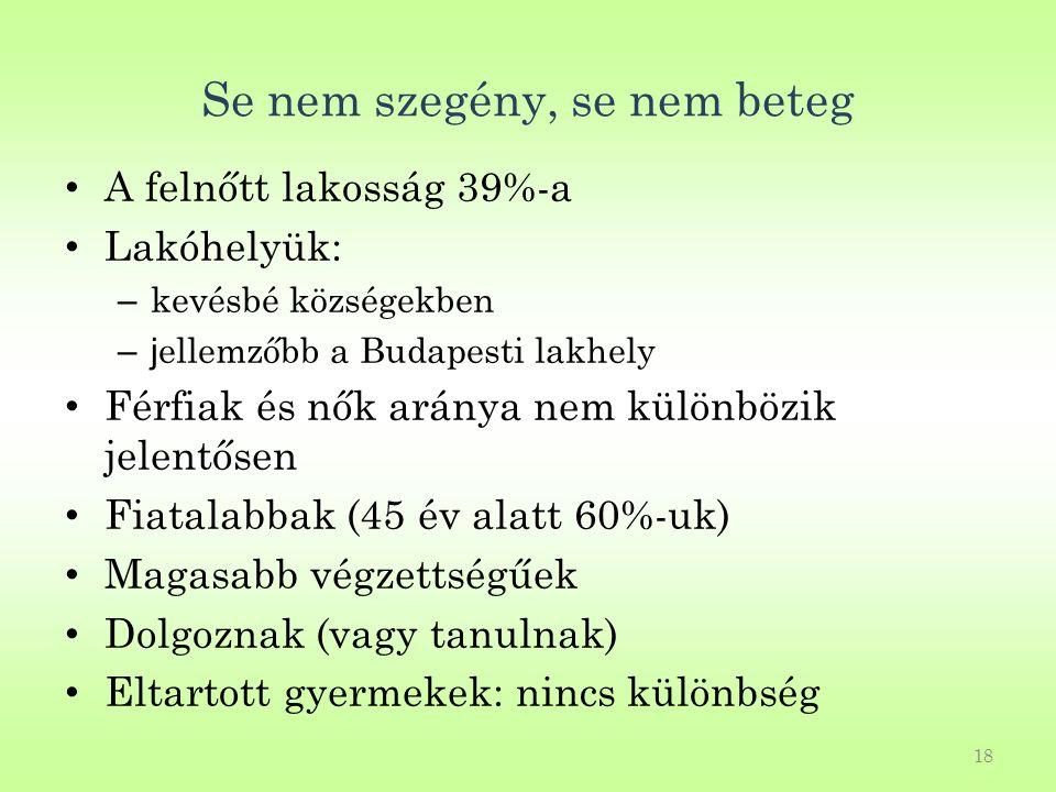 18 Se nem szegény, se nem beteg A felnőtt lakosság 39%-a Lakóhelyük: – kevésbé községekben –j ellemzőbb a Budapesti lakhely Férfiak és nők aránya nem különbözik jelentősen Fiatalabbak (45 év alatt 60%-uk) Magasabb végzettségűek Dolgoznak (vagy tanulnak) Eltartott gyermekek: nincs különbség