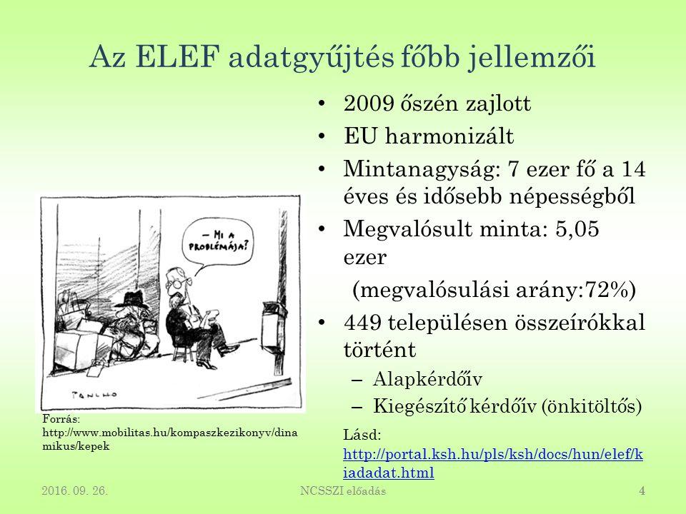 4 Az ELEF adatgyűjtés főbb jellemzői 2009 őszén zajlott EU harmonizált Mintanagyság: 7 ezer fő a 14 éves és idősebb népességből Megvalósult minta: 5,05 ezer (megvalósulási arány:72%) 449 településen összeírókkal történt – Alapkérdőív – Kiegészítő kérdőív (önkitöltős) Lásd: http://portal.ksh.hu/pls/ksh/docs/hun/elef/k iadadat.html http://portal.ksh.hu/pls/ksh/docs/hun/elef/k iadadat.html 2016.