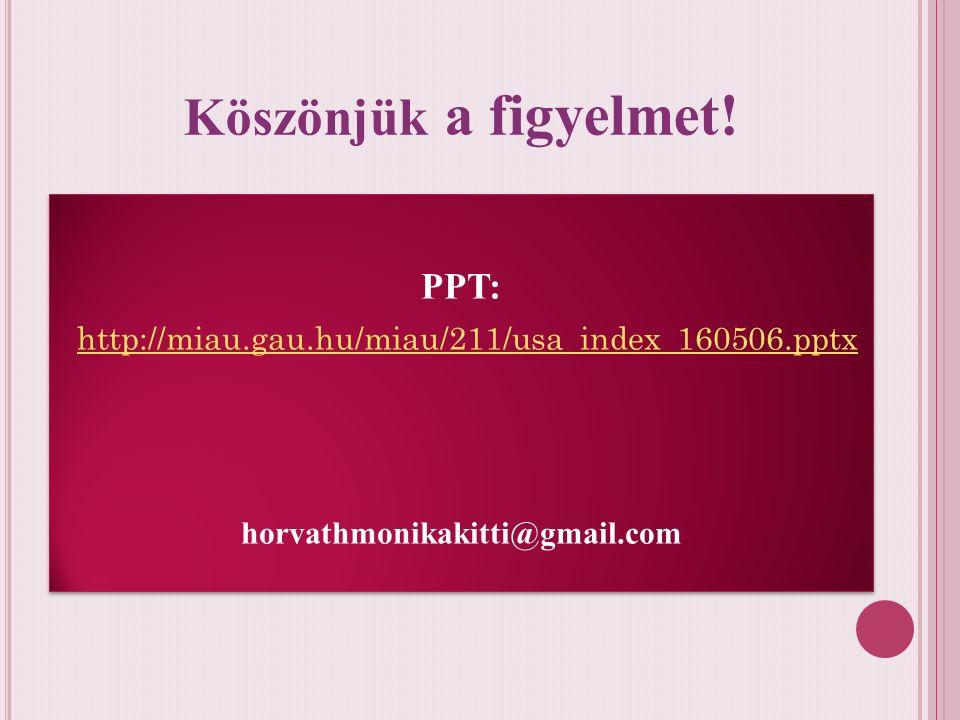 PPT: http://miau.gau.hu/miau/211/usa_index_160506.pptx horvathmonikakitti@gmail.com PPT: http://miau.gau.hu/miau/211/usa_index_160506.pptx horvathmoni