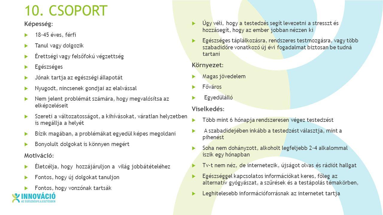 10. CSOPORT Képesség :  18-45 éves, férfi  Tanul vagy dolgozik  Érettségi vagy felsőfokú végzettség  Egészséges  Jónak tartja az egészségi állapo