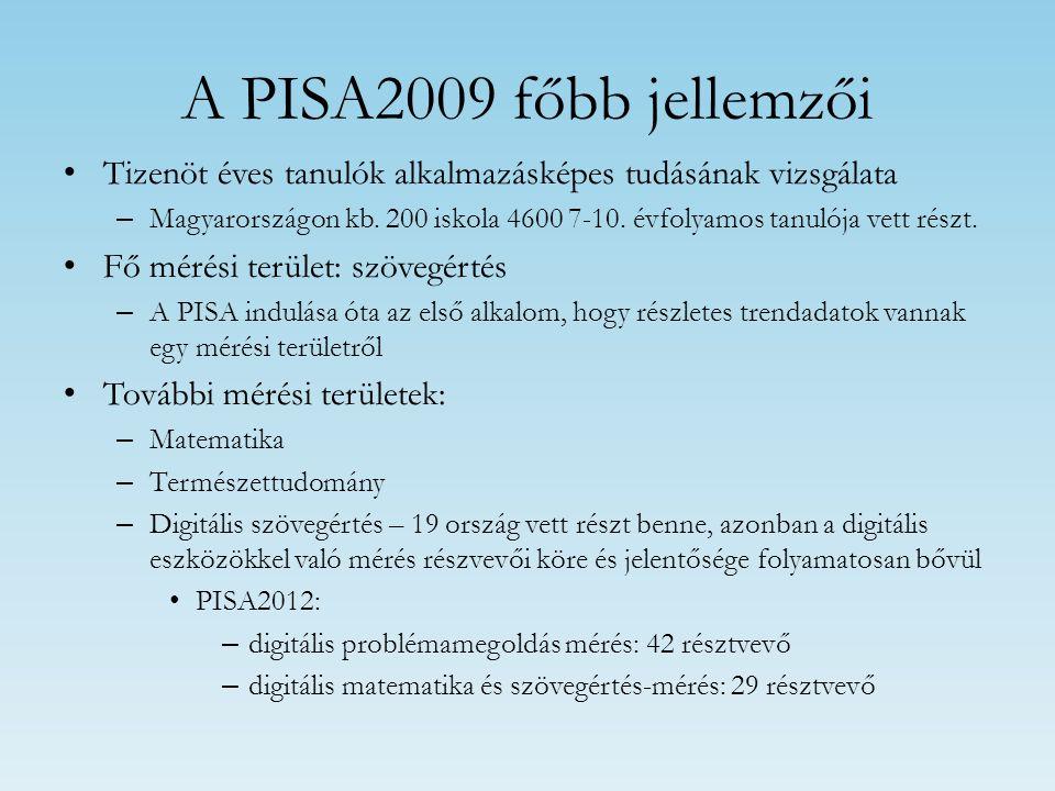 A PISA2009 főbb jellemzői Tizenöt éves tanulók alkalmazásképes tudásának vizsgálata – Magyarországon kb. 200 iskola 4600 7-10. évfolyamos tanulója vet
