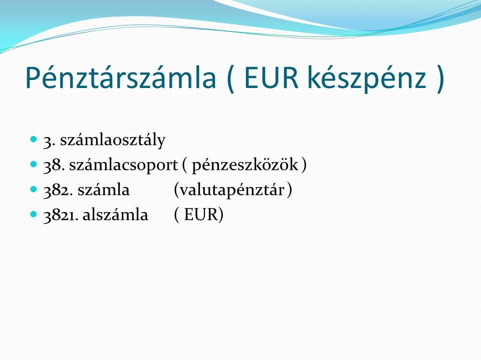 Pénztárszámla ( EUR készpénz ) 3. számlaosztály 38.