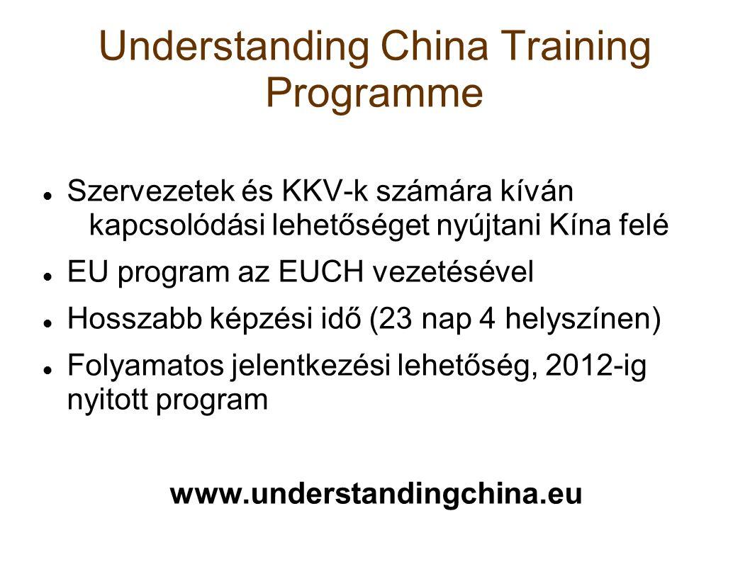 Understanding China Training Programme Szervezetek és KKV-k számára kíván kapcsolódási lehetőséget nyújtani Kína felé EU program az EUCH vezetésével Hosszabb képzési idő (23 nap 4 helyszínen) Folyamatos jelentkezési lehetőség, 2012-ig nyitott program www.understandingchina.eu