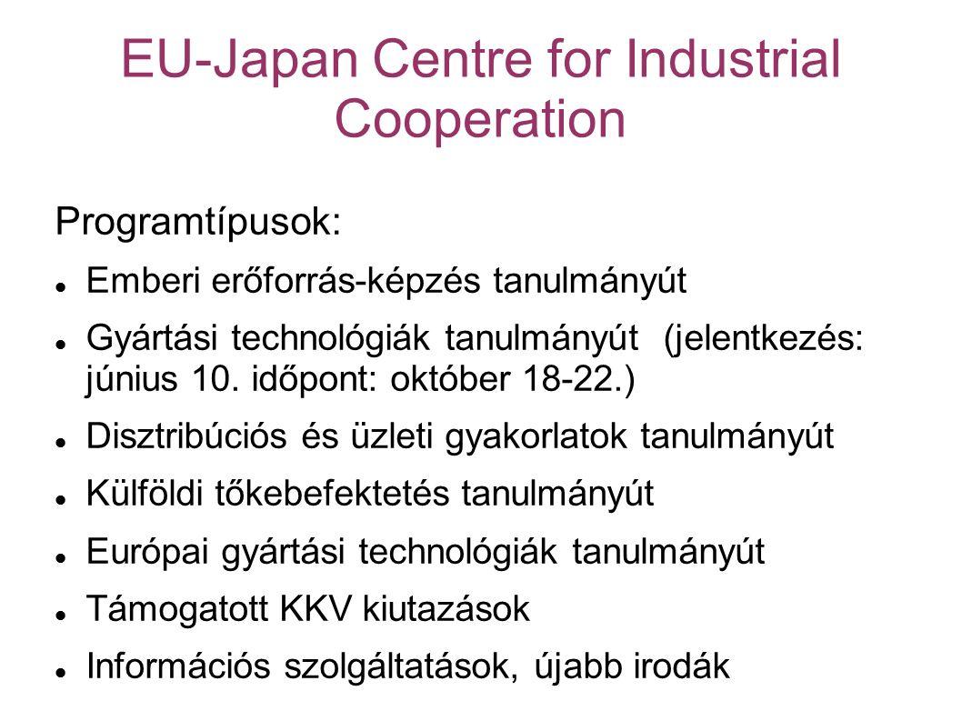 EU-Japan Centre for Industrial Cooperation Programtípusok: Emberi erőforrás-képzés tanulmányút Gyártási technológiák tanulmányút (jelentkezés: június 10.