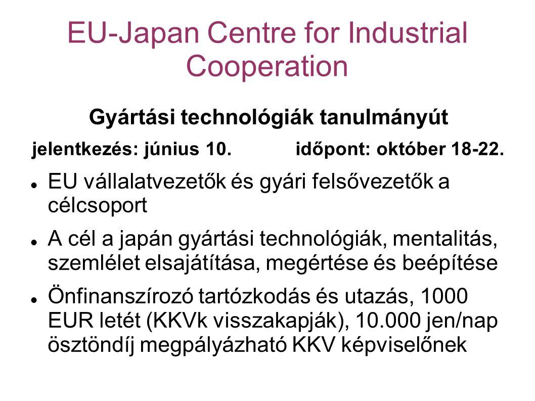 EU-Japan Centre for Industrial Cooperation Gyártási technológiák tanulmányút jelentkezés: június 10.