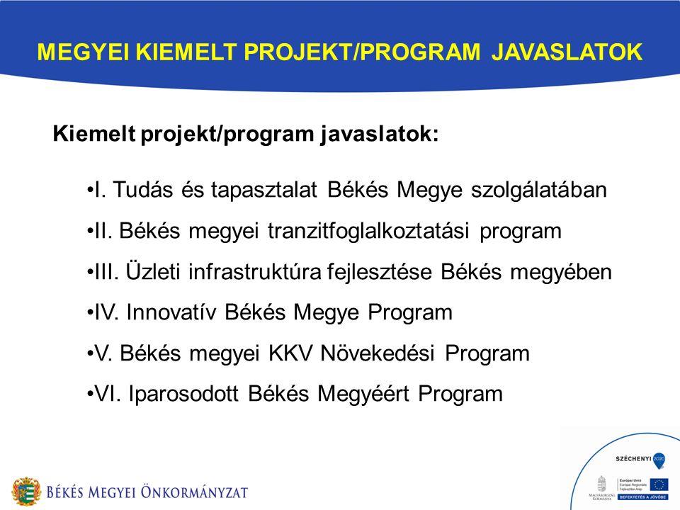 MEGYEI KIEMELT PROJEKT/PROGRAM JAVASLATOK Kiemelt projekt/program javaslatok: I.
