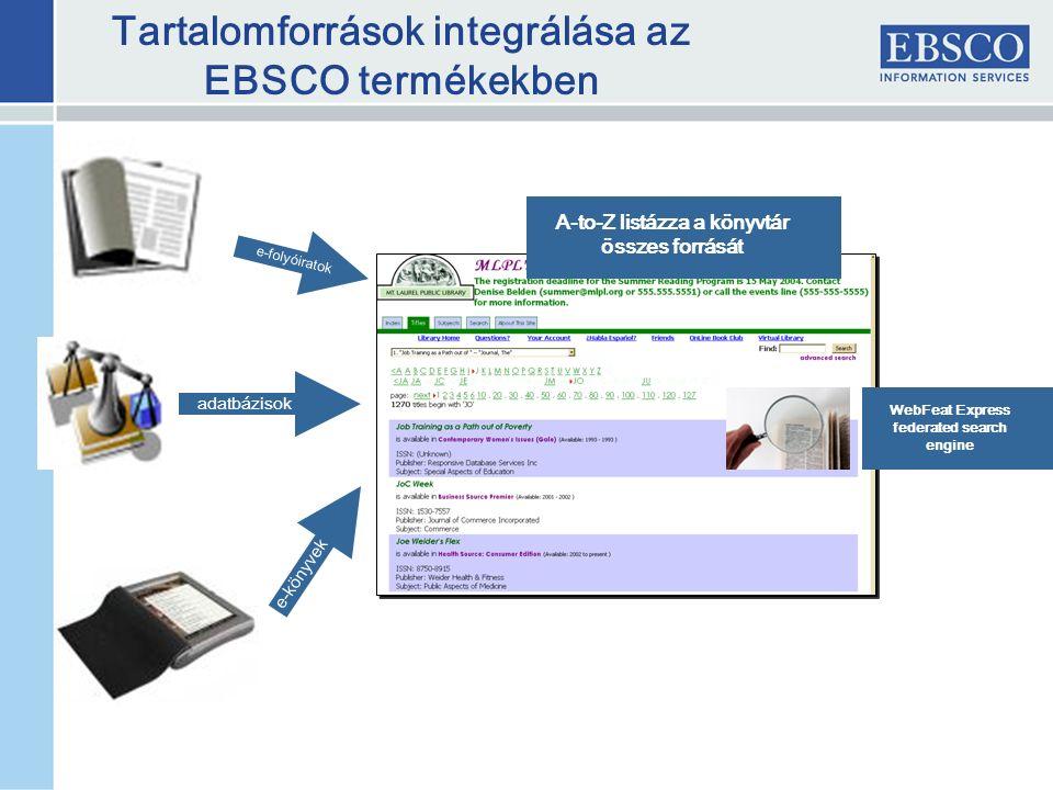 Tartalomforrások integrálása az EBSCO termékekben A-to-Z listázza a könyvtár összes forrását e-folyóiratok adatbázisok e-könyvek WebFeat Express federated search engine
