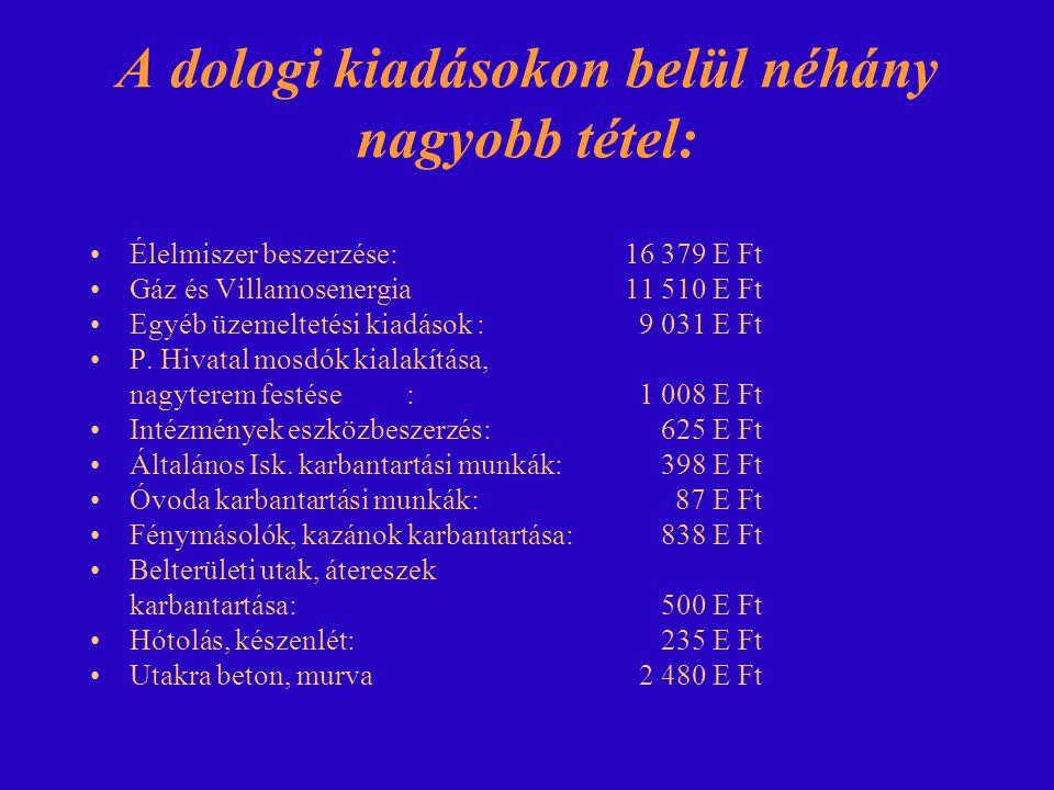 A dologi kiadásokon belül néhány nagyobb tétel: Élelmiszer beszerzése: 16 379 E Ft Gáz és Villamosenergia 11 510 E Ft Egyéb üzemeltetési kiadások : 9 031 E Ft P.