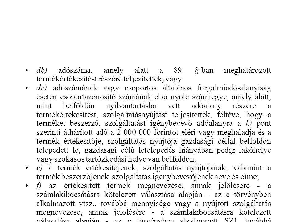 db) adószáma, amely alatt a 89.