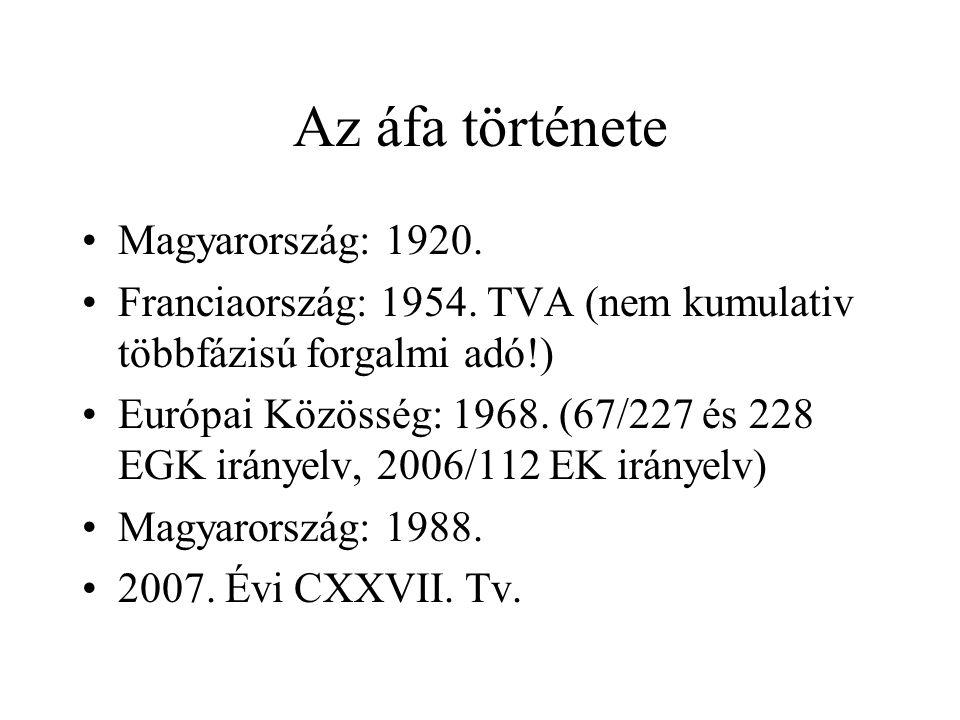 Az áfa története Magyarország: 1920.Franciaország: 1954.