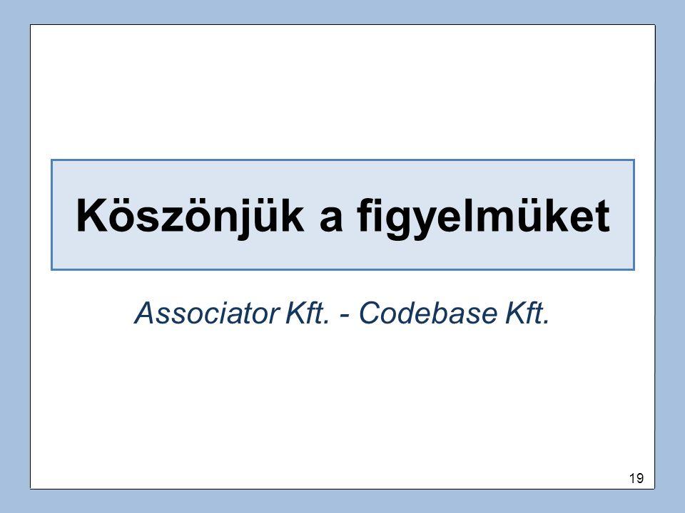 19 Köszönjük a figyelmüket Associator Kft. - Codebase Kft.