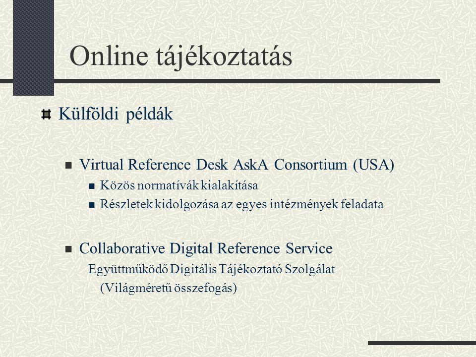 Online tájékoztatás Külföldi példák Virtual Reference Desk AskA Consortium (USA) Közös normatívák kialakítása Részletek kidolgozása az egyes intézmények feladata Collaborative Digital Reference Service Együttműködő Digitális Tájékoztató Szolgálat (Világméretű összefogás)