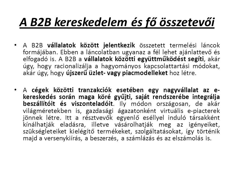 A B2B tipikus felhasználási területei az árverési rendszerek, brókerrendszerek (az ajánlattevők és eladók összhangba hozatalára), és a kereskedelmi rendszerek (amelyek az árukereskedelmet egyszerű termékismertetéssel támogatják) Az üzletfelek közötti együttműködést extranet hálózatok teszik lehetővé, amelyek kölcsönösen biztosítják a többiek számára az adataik egy részéhez és on-line szolgáltatásokhoz való közvetlen hozzáférést.