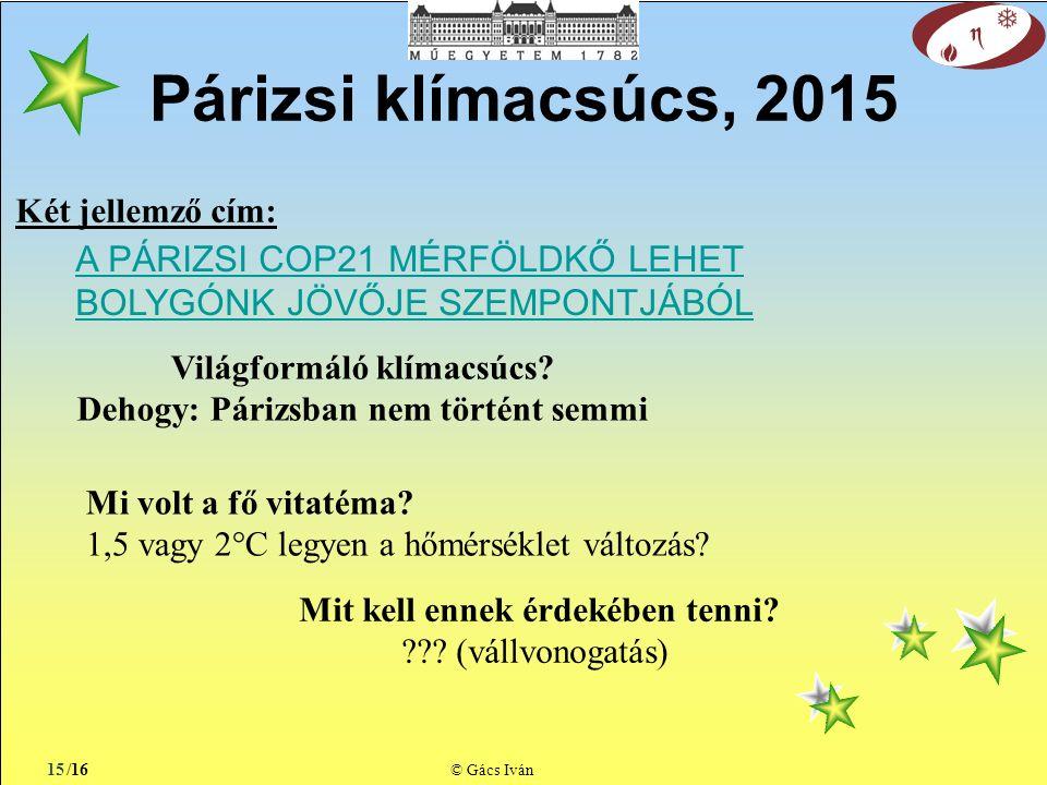/16 © Gács Iván Párizsi klímacsúcs, 2015 15 A PÁRIZSI COP21 MÉRFÖLDKŐ LEHET BOLYGÓNK JÖVŐJE SZEMPONTJÁBÓL Világformáló klímacsúcs.