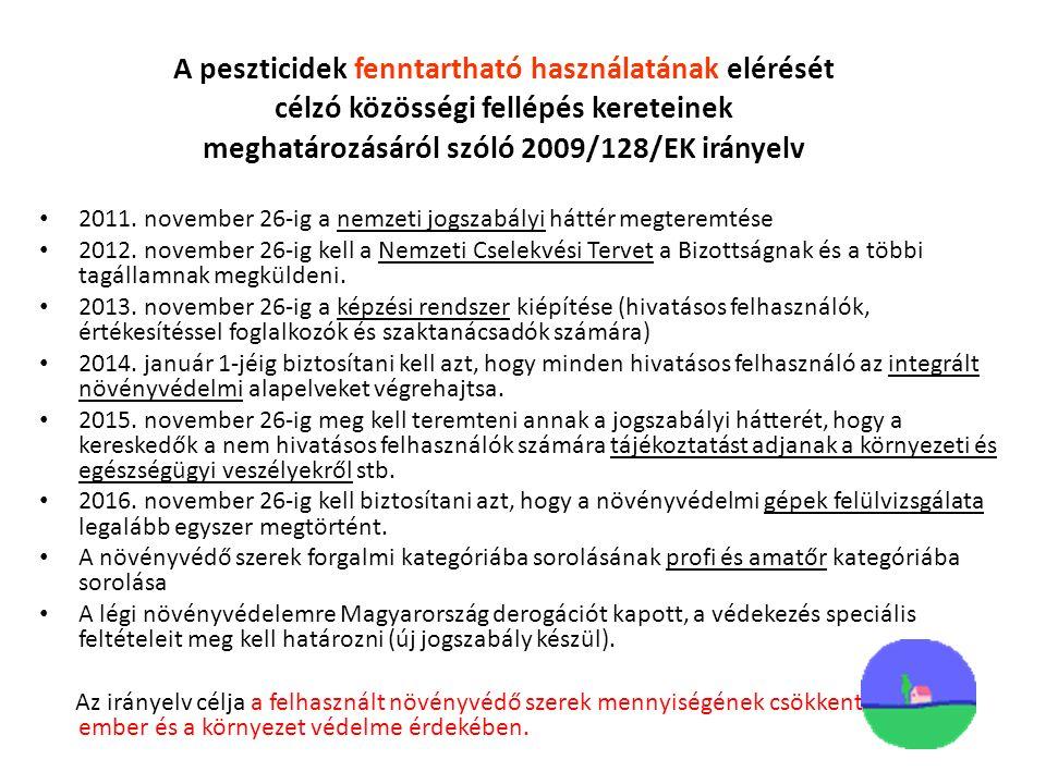 A peszticidek fenntartható használatának elérését célzó közösségi fellépés kereteinek meghatározásáról szóló 2009/128/EK irányelv 2011.
