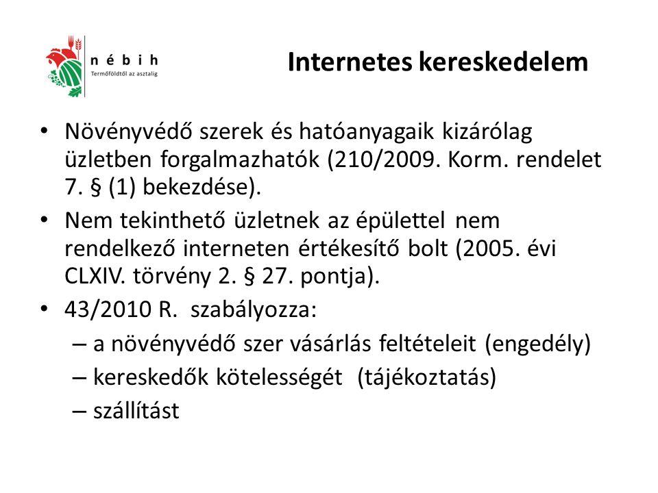 Internetes kereskedelem Növényvédő szerek és hatóanyagaik kizárólag üzletben forgalmazhatók (210/2009.