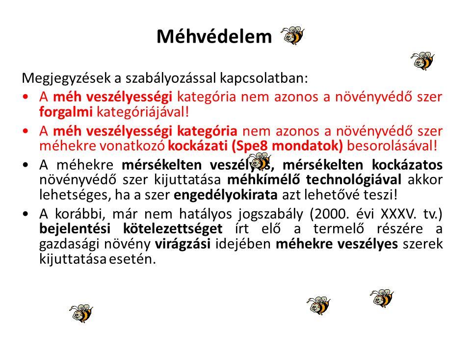 Méhvédelem Megjegyzések a szabályozással kapcsolatban: A méh veszélyességi kategória nem azonos a növényvédő szer forgalmi kategóriájával.