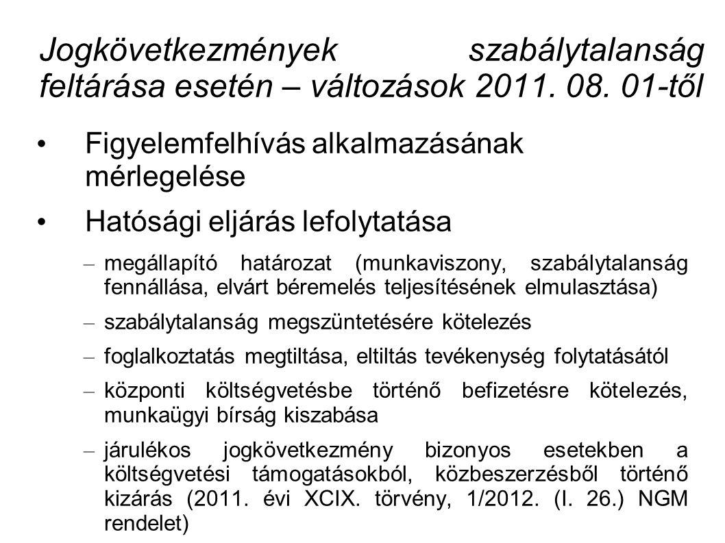 Jogkövetkezmények szabálytalanság feltárása esetén – változások 2011.