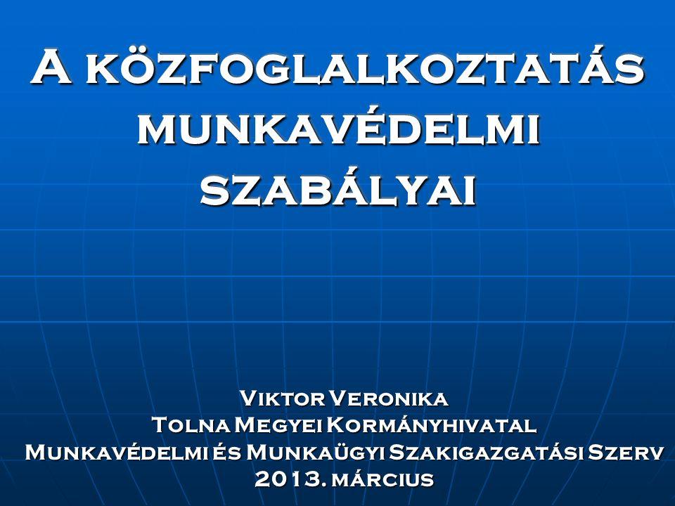 A közfoglalkoztatás munkavédelmi szabályai Viktor Veronika Tolna Megyei Kormányhivatal Munkavédelmi és Munkaügyi Szakigazgatási Szerv 2013. március