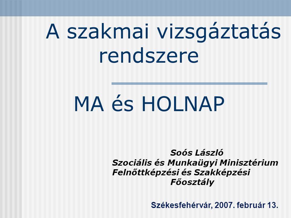 A szakmai vizsgáztatás rendszere MA és HOLNAP Soós László Szociális és Munkaügyi Minisztérium Felnőttképzési és Szakképzési Főosztály Székesfehérvár, 2007.