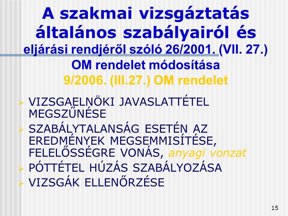 15 A szakmai vizsgáztatás általános szabályairól és eljárási rendjéről szóló 26/2001.