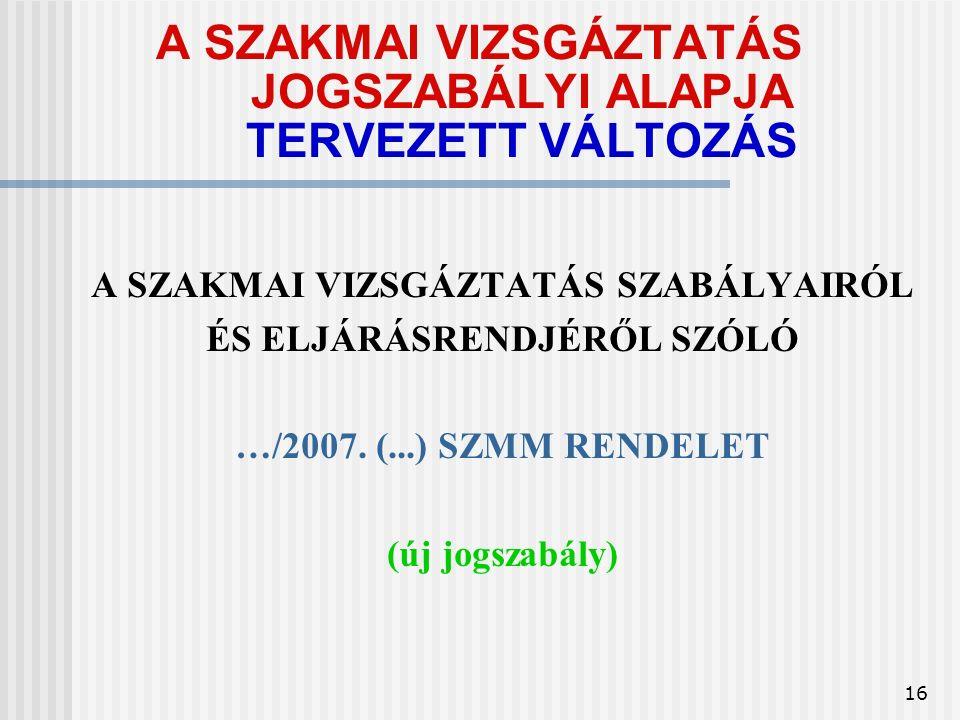 16 A SZAKMAI VIZSGÁZTATÁS JOGSZABÁLYI ALAPJA TERVEZETT VÁLTOZÁS A SZAKMAI VIZSGÁZTATÁS SZABÁLYAIRÓL ÉS ELJÁRÁSRENDJÉRŐL SZÓLÓ …/2007.
