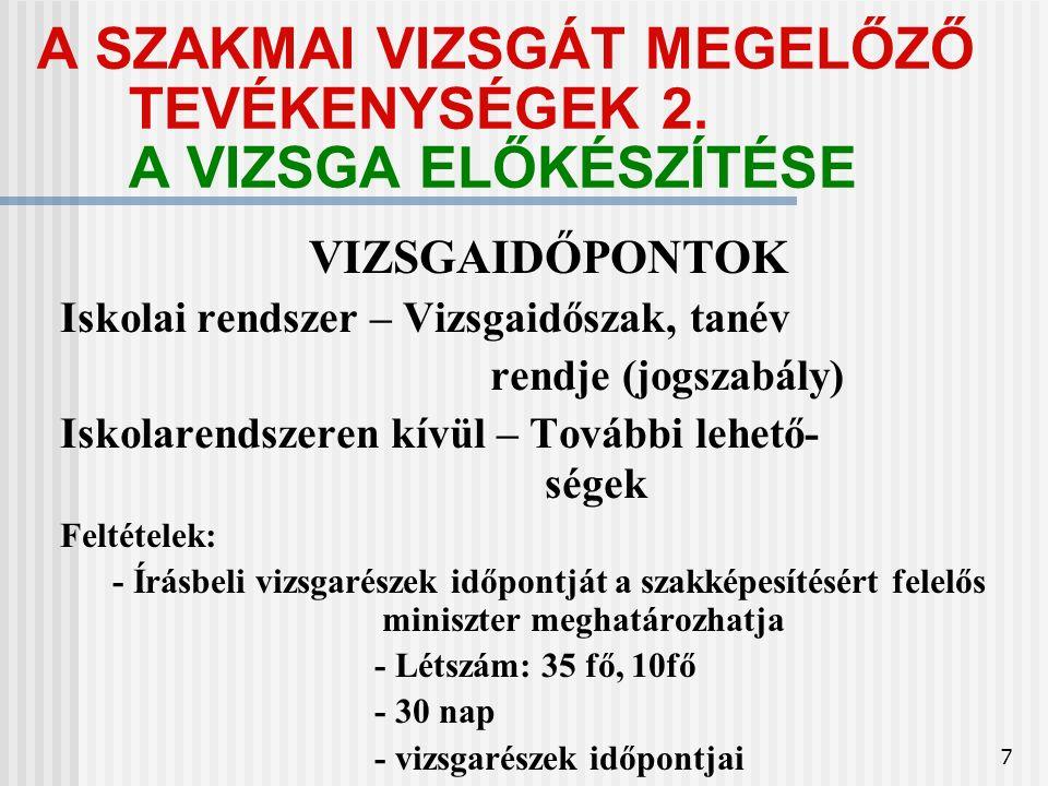 7 A SZAKMAI VIZSGÁT MEGELŐZŐ TEVÉKENYSÉGEK 2.