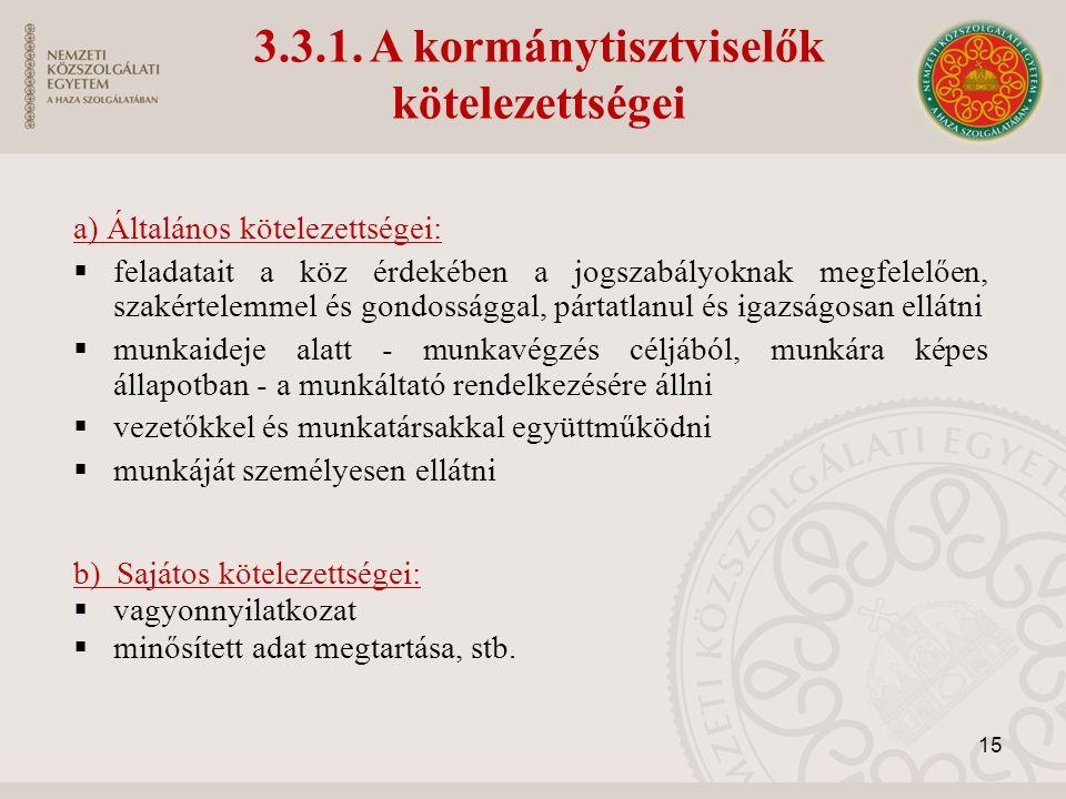 3.3.1. A kormánytisztviselők kötelezettségei a) Általános kötelezettségei:  feladatait a köz érdekében a jogszabályoknak megfelelően, szakértelemmel