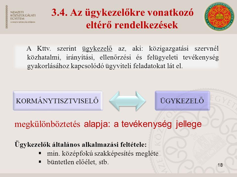 3.4. Az ügykezelőkre vonatkozó eltérő rendelkezések A Kttv.