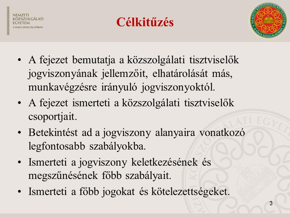Célkitűzés A fejezet bemutatja a közszolgálati tisztviselők jogviszonyának jellemzőit, elhatárolását más, munkavégzésre irányuló jogviszonyoktól.