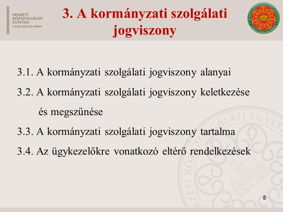 3. A kormányzati szolgálati jogviszony 3.1. A kormányzati szolgálati jogviszony alanyai 3.2.