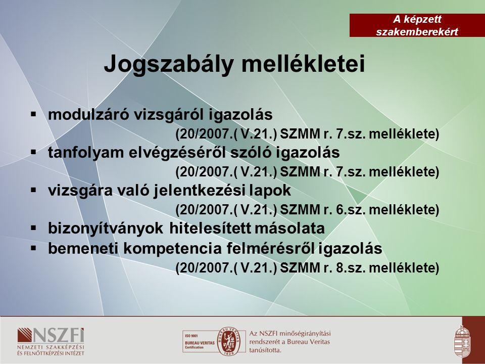 A képzett szakemberekért Jogszabály mellékletei  modulzáró vizsgáról igazolás (20/2007.( V.21.) SZMM r.