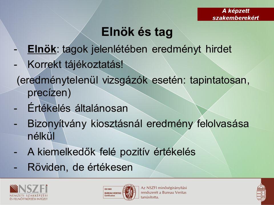A képzett szakemberekért Elnök és tag - Elnök: tagok jelenlétében eredményt hirdet - Korrekt tájékoztatás.