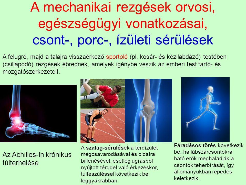 A mechanikai rezgések orvosi, egészségügyi vonatkozásai, csont-, porc-, ízületi sérülések A felugró, majd a talajra visszaérkező sportoló (pl. kosár-