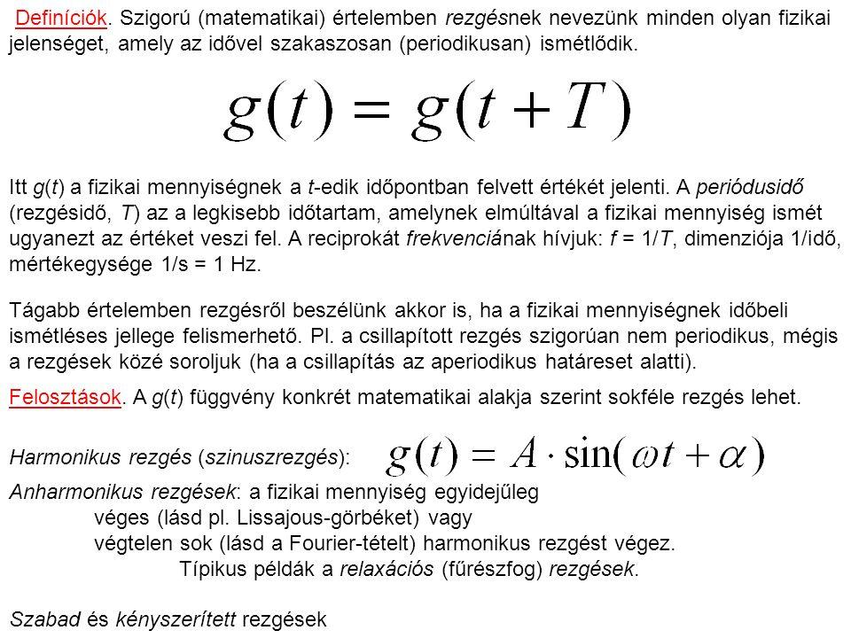 Definíciók. Szigorú (matematikai) értelemben rezgésnek nevezünk minden olyan fizikai jelenséget, amely az idővel szakaszosan (periodikusan) ismétlődik