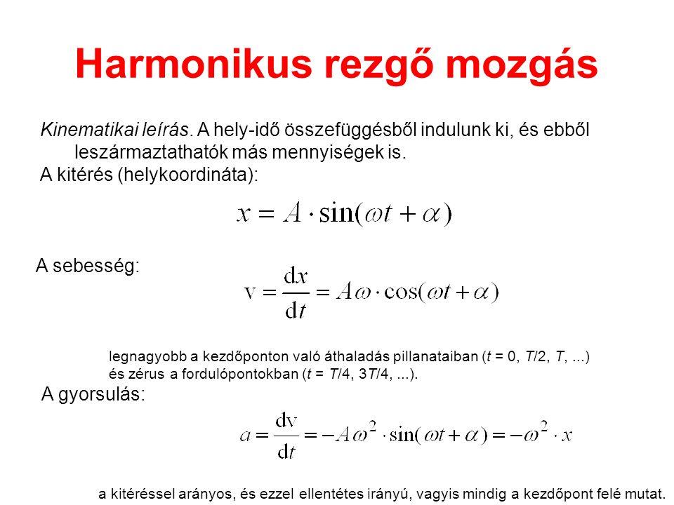 Harmonikus rezgő mozgás Kinematikai leírás. A hely-idő összefüggésből indulunk ki, és ebből leszármaztathatók más mennyiségek is. A kitérés (helykoord