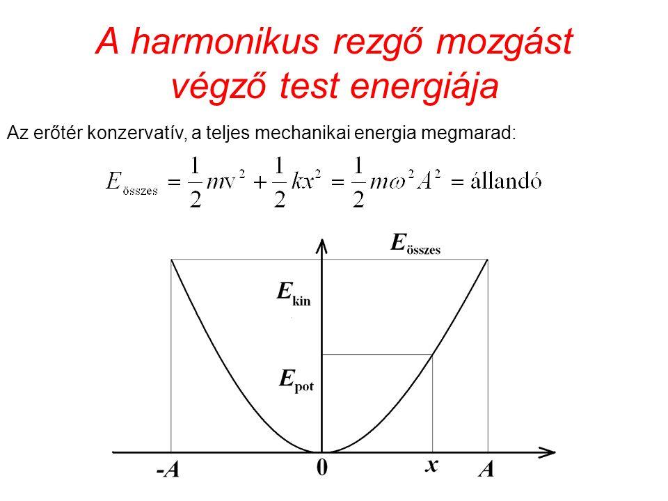 A harmonikus rezgő mozgást végző test energiája Az erőtér konzervatív, a teljes mechanikai energia megmarad: