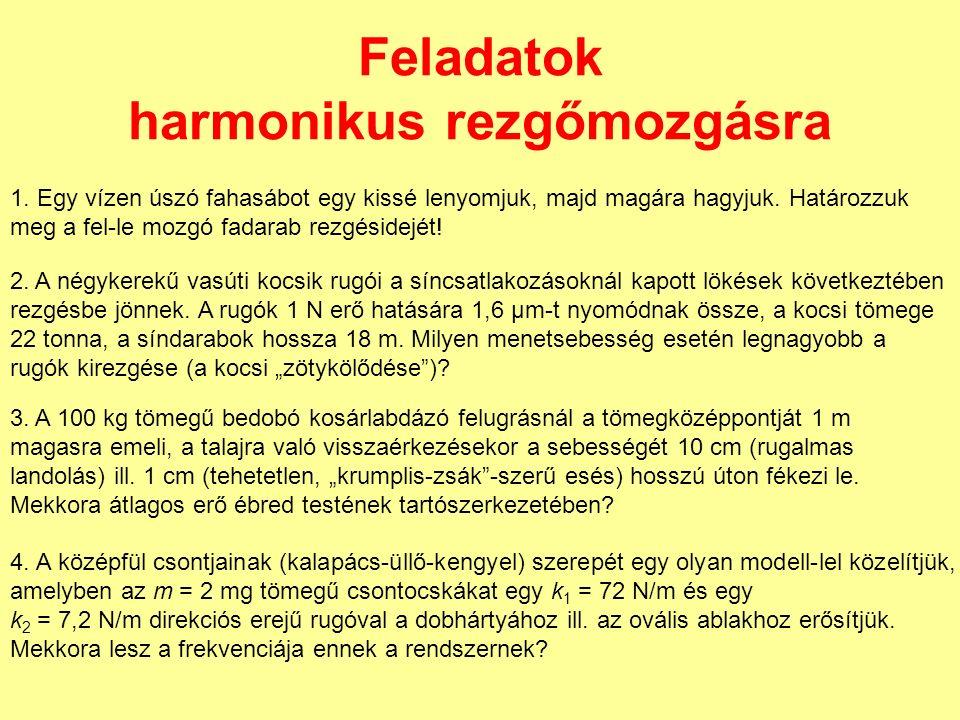 Feladatok harmonikus rezgőmozgásra 1.