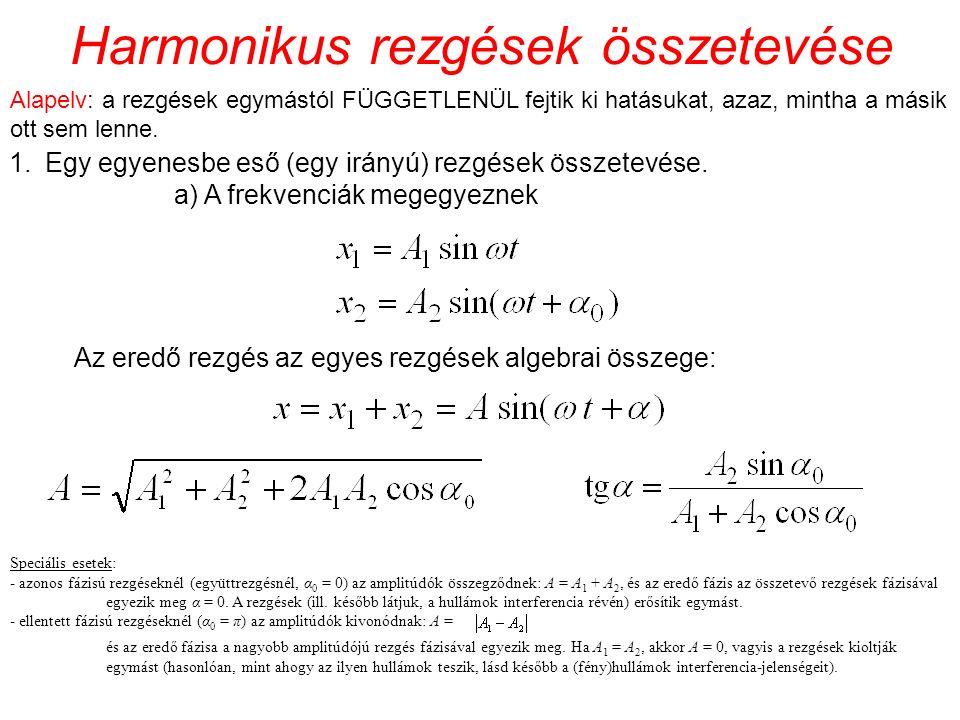 Harmonikus rezgések összetevése 1.Egy egyenesbe eső (egy irányú) rezgések összetevése. a) A frekvenciák megegyeznek Az eredő rezgés az egyes rezgések